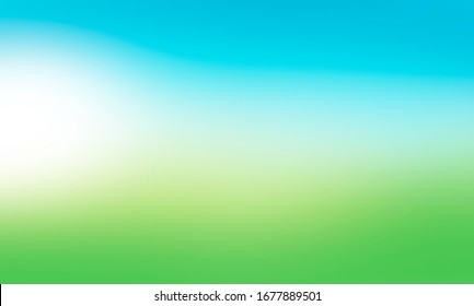 A blurred fresh spring, summer blue and green abstract background with soft glow. Illustration.