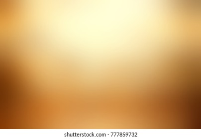 Blurred gold texture. Empty old metal background. Defocused gleam illustration. Yellow, beige, brown glare backdrop. Exclusive trend.