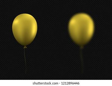 Blurred golden balloons. Festive holiday background, Raster illustration