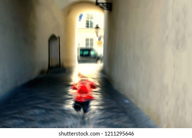 Blurred image. Baby Abduct. Children kidnapping concept