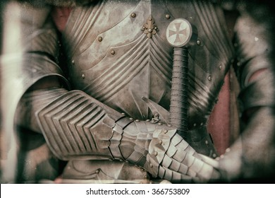 Blurred image of knight armor in vintage style