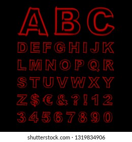 Blurred Neon Font. Red Letters, Signs and Numerals on a Black Background. Illustration