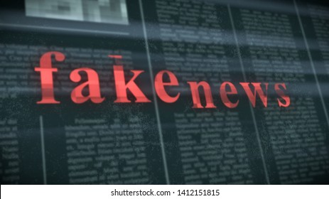 """blurred newspaper on background with red text: """"fake news"""" on foreground, glitch effect, concept of disinformation (3d render)"""