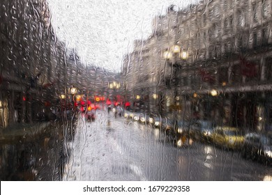 blurred view of road traffic in London on a rainy day through the bus window with oil painting effect. raindrops on the glass window of the bus.
