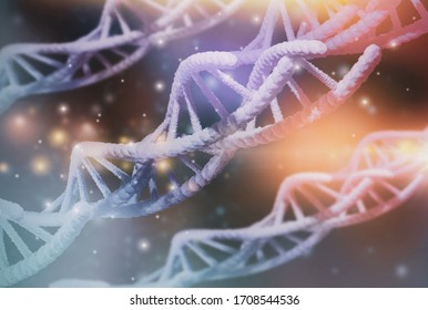 Blurred-close up DNA structure molecule chain macro through microscope view,concept medical and genetics,abstract 3D rendering illustration, science biotechnology human cell in laboratory biochemistry
