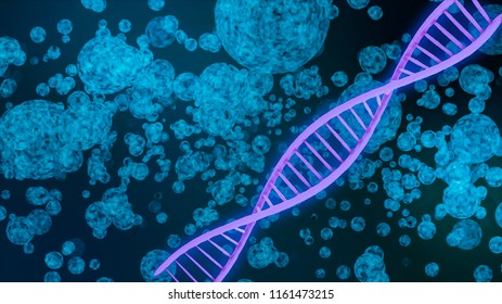 Blurry 3d Rendering DNA structure with virus in color background.Biochemistry background concept with high tech dna molecule.