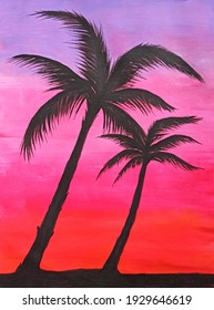 Blurry abstract background of sunset on tropical coast with two palm trees. Silhouettes of palm trees at sunset painting. Colorful purple lilac bright pink orange red sky at sunset. Art Illustration.
