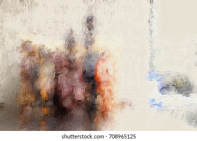 Blurry African figures in abstract form simulating oil painting -  Beige1