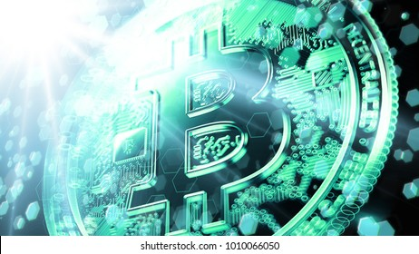 Blurry closeup on Bitcoin sign bathed in bright fluorescent light with blockchain nodes floating around. Bitcoin and blockchain technology concept. 3D rendering