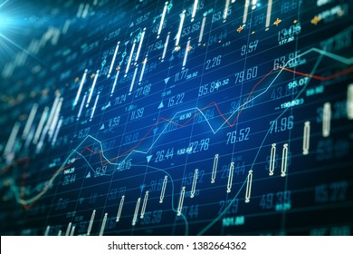 Blurry glowing blue forex chart wallpaper with grid. Invest and finance concept. 3D Rendering