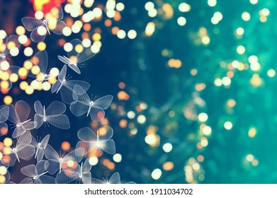 blurry lights background and abstract mesh moth butterflies. 3d illustration
