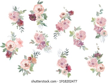 Blush burgundy maroon peony rose watercolor floral arrangement isolated on white background. Watercolor flowers. Floral watercolor illustration. Beautiful composition. Design for textile, wallpapers.