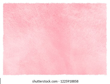 Blush crepe pink watercolor texture with stains and rough edges. Valentines, Women Day light red, rose watercolour background. Hand drawn abstract aquarelle fill, banner template. Soft pastel color.