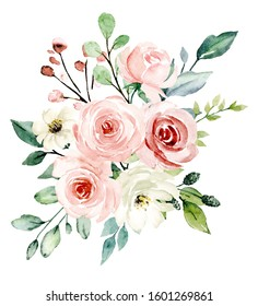 Blush flowers watercolor, floral clip art. Pink bouquet roses perfectly for printing design on wedding invitation, greeting card, wall art and other. Hand painting. Isolated on white background.