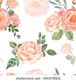 Blush pink and cream flowers and greenery seamless pattern. Watercolor hand drawn floral ornament on white background. Shabby chic retro style. Roses and sage green eucalyptus print.