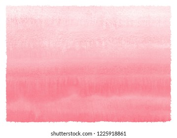 Blush pink gradient watercolor texture with striped horizontal stains and rough edges. Valentines, Women Day light red, rose color watercolour background. Hand drawn aquarelle fill, text template