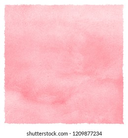 Blush pink square watercolor texture with stains and rough edges. Valentines, Women Day light red, rose watercolour background. Soft pastel color. Hand drawn abstract aquarelle fill, text template
