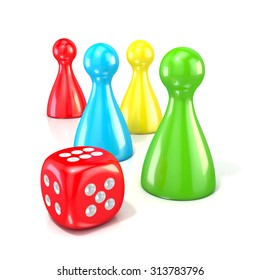 Board game figures with red dice. 3D render illustration isolated on white background