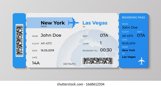 Boarding ticket. Airplane flight pass mockup, plane travel invitation card.  realistic concept of ticket illustration for departures airlines business trip