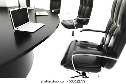 boardroom, meeting room and conference table with notebooks. Business concept. Isolate 3d rendering.