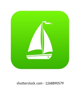 Boat icon digital green for any design isolated on white illustration