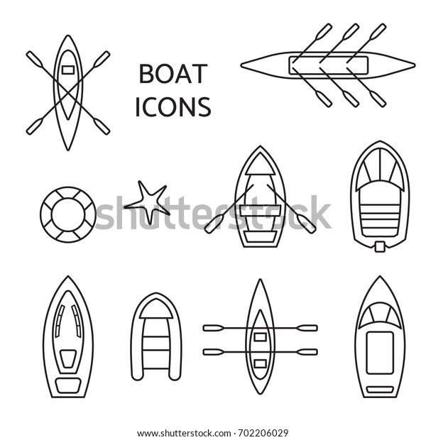 Boat icons outline set. Top view contour pictograms of kayak, vessel, ship, canoe, dinghy, inflatable fishing, cruise, coast guard, oar, passenger boats. Banner, logo design.