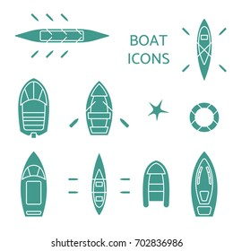 Boat icons set. Top view contour pictograms of kayak, vessel, ship, lifebuoy, canoe, dinghy, inflatable fishing, cruise, coast guard, oar, passenger boats. Banner, logo design.