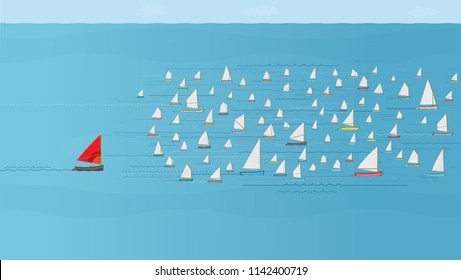 Boat with Red Sail falling behind the Fleet, Last Place Concept, Nautical, Illustration, Sailboats, Winning & Losing, Leadership, Coming in Last, Flotilla of Sailboats, Behind the rest, Catching Up