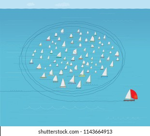 Boat with Red Spinnaker Sail running Rings around the Rest of the Flotilla, Business Strategy Concept, Nautical Theme, Illustration, Concepts & Topics, Fleet of Sailboats, Ahead of the Curve, Looping