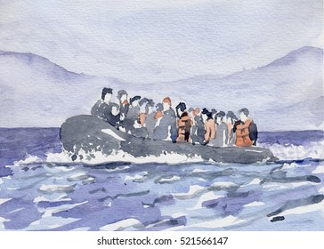 Boat of refugee watercolor painting