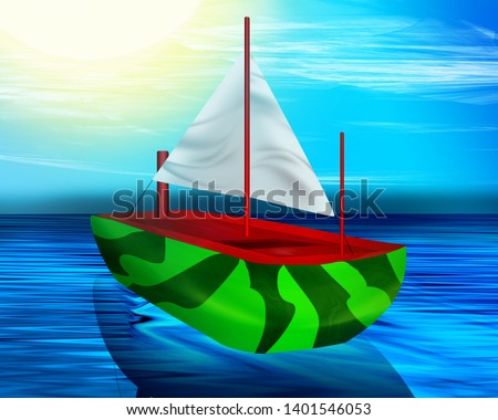 A boat sailing in the sea, a summer day, in watermelon