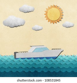 Boat and sea view recycled papercraft