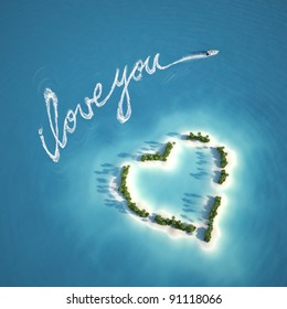 boat writing a love message with the trail on the water near a heart shape island ideal for valentines post card