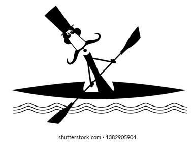 Boating long mustache man illustration. Comic long mustache man in the top hat floating on the waves on the boat black on white