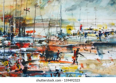 Boats in the harbor, oil painting, background