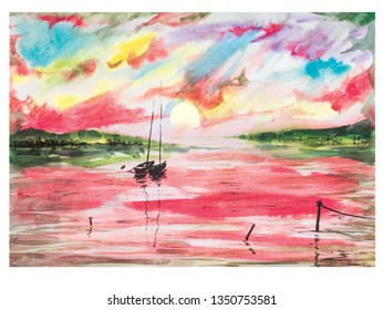 Boats hot island. Red lake sea boat sailer watercolor sea water waves sunset dawn yellow sun rays gentle color juicy texture illustration panorama mountains hill reflection shining clouds pink sky.