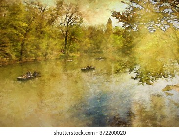 Boats on New York City's Central Park Lake in Spring transformed into a golden toned colorful painting