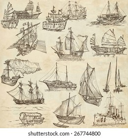 Boats and Ships around the World. Collection of an hand drawn illustrations. Description: Full sized hand drawn illustrations. Original freehand sketches on old paper.