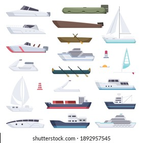 Boats. Water sea or ocean vessel small and big ships and sailor boats cartoon transport