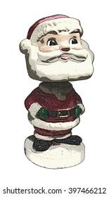 Bobble-Head Santa Claus Engraved Illustration