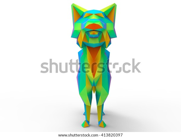 Bobcat Character Cartoon Low Poly 3d Stock Illustration