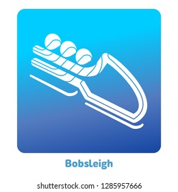 Bobsleigh icon. Olympic species of events in 2018. Winter sports games icons, pictograms for web, print and other projects. Illustration isolated on a white background