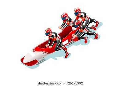 Bobsleigh sled race athlete winter sport man 3D isometric icon.