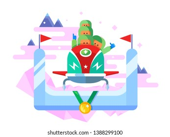 Bobsleigh winter sport. Competition game, extreme speed, sled illustration