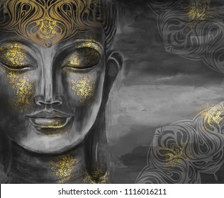 Bodhisattva Buddha - digital art collage combined with watercolor. An unusual painting hand drawn for the interior