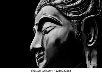 Bodhisattva Buddha watercolor combine with painting for art background and interior isolated on black color.