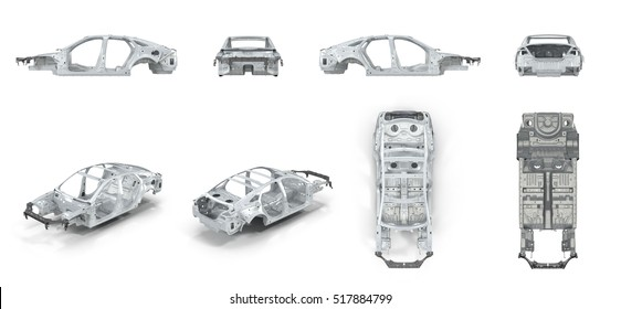 The bodie of car prepared for production. on white. renders set from different angles on a white. 3D illustration
