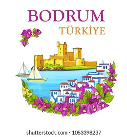 Bodrum Illustration with Bougainvillea