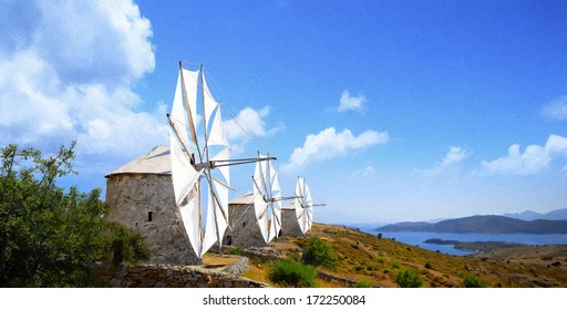Bodrum Windmills oil painting from beautiful tourism city Bodrum