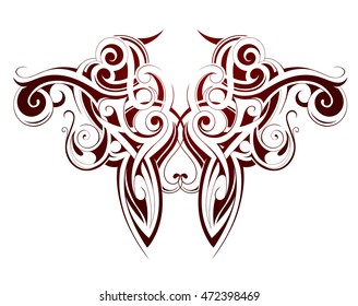 Body art ink tattoo with Maori ethnic elements